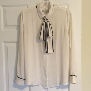 Cream and black piped tie-neck blouse